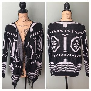 t/o Sweaters small black Aztec open cardigan
